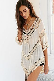 a27d98e4f74a0 Ecote Crochet Inset Tunic Top - Urban Outfitters Hairpin Lace Crochet