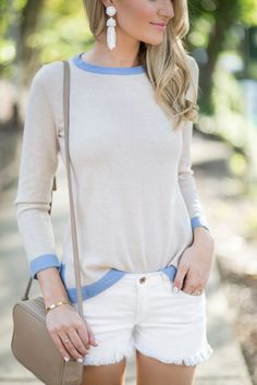 White Tassel Earrings with Neutral #outfit