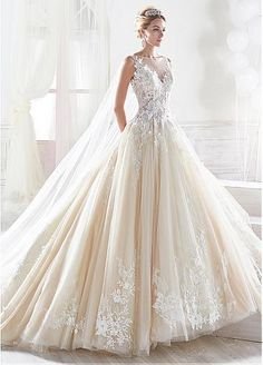 Fantastic Tulle Sheer Bateau Neckline A-line Wedding Dress With Lace Appliques