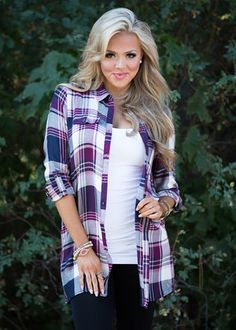 Can't Keep My Hands To Myself Plaid Top