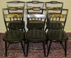 SET OF SIX SHERATON WINDSOR PILLOWBACK FANCY CHAIRS WITH PAINT STENCILED DESIGNS #WINDSOR