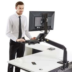 Today has a number of sit-stand computer workstation & TV wall bracket which help to get your room organized & manage work more efficiently. Sit Stand Workstation, Computer Workstation, Sit Stand Desk, Tv Wall Brackets, Tv Bracket, Wall Mount Bracket, Work Station Desk, Adjustable Desk, Increase Productivity