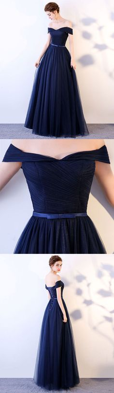 Dark blue long prom dress, blue tulle evening dress #eveningdresses
