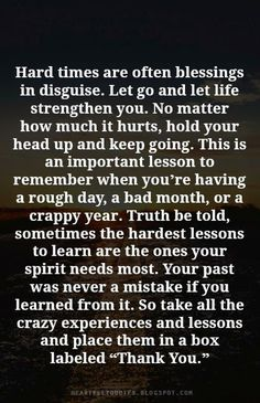 Hard times are often blessings in disguise. Let go and let life strengthen you. No matter how much it hurts, hold your head up and keep going. This is an important lesson to remember when you're having a rough day, a bad month, or a crappy year. Truth be told, sometimes the hardest lessons to learn are the ones your spirit needs most.