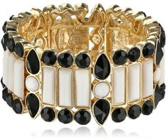 """Kensie """"Dream Sequence"""" Gold-Plated Black and White Stone Stretch Bracelet"""