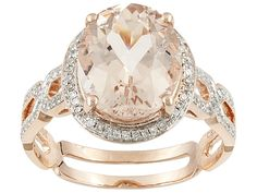 3.10ct Oval Cor-de-rosa Morganite (Tm) With .22ctw Round White Diamond 10k Rose Gold Ring