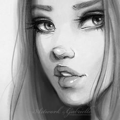 Saving this because I like the nose /// Girl drawing #face / Disegno Ragazza #viso - Artwork by Gabrielle: