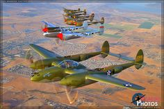 Air to Air Photo Shoot: Historic Flight: Lockheed P-38 Lightning Formation - May 4, 2013 - Warbird Photos Aviation Photography