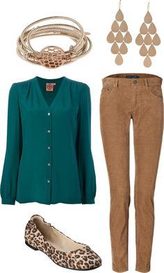 hmmm...how about hunter green top, khaki skirt and leopard heels...i'll have to try tonight