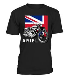 Classic ARIEL motorcycle script and illustration Union Jack
