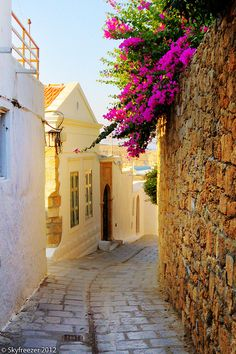 Alley in Lindos, Greece