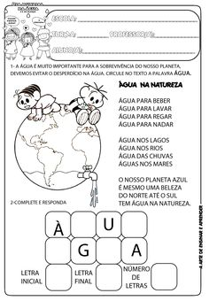 A Arte de Ensinar e Aprender: Atividades dia da água - 22 de março Learn Portuguese, Reading Worksheets, Kawaii Wallpaper, Teaching, Activities, School, Gigi 2, Professor, Ferrari