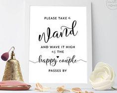 Wedding Wand Sign, Wedding Wands, Wedding Ribbon Wands, Wedding Send Off Ideas, Wedding Ceremony Sign Wedding Printable Signs, Send Off Sign