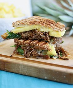 This carnitas pineapple panini is made with the meat from the Pioneer Woman's Carnitas Pizza. Mouthwatering in every bite.