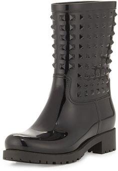 Valentino Rockstud PVC Rain Boot, Black