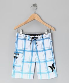 Take a look at this White & Light Blue Boardshorts - Boys by Hurley on #zulily today!