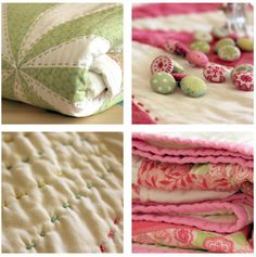 Soft and pretty. Hand quilted to boot.