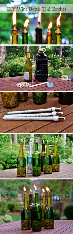 Declaring War on Mosquitos No 1 DIY Wine Bottle Tiki Torch Redeem Your Ground Wine Bottle Tiki Torch, Wine Bottle Art, Wine Bottle Crafts, Wine Bottle Wedding, Wine Bottle Lighting, Diy Bottle, Bottle Lights, Wine Craft, Tiki Torches