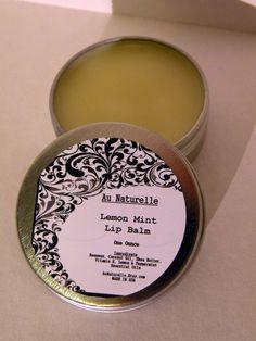 Lemon Mint Lip Balm  One Ounce Tin  All Natural Lip by aunaturelle, $12.00