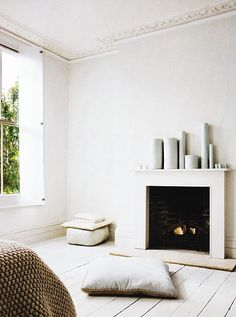 This beautiful and softly atmospheric space is the London home of Parma Lilac shop owner and interior designer Janie Jackson Home Bedroom, Home Living Room, Living Spaces, White Fireplace, Cozy Fireplace, Bedroom Fireplace, Interior Architecture, Interior And Exterior, Interior Design