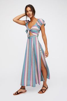 Endless Summer Multi Stripe The Getaway Midi Dress at Free People Clothing Boutique