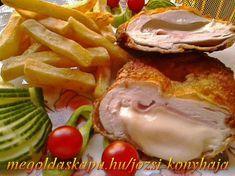 sajttal-sonkaval-toltott-csirkemell Eggs, Beef, Chicken, Breakfast, Food, Meat, Morning Coffee, Essen, Egg