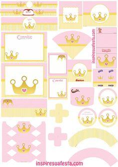 Risultati immagini per doce coroa personalizada Baby Shower Princess, Princess Birthday, Baby Birthday, Princesse Party, Imprimibles Baby Shower, Happy B Day, Party Kit, Printable Designs, Free Baby Stuff