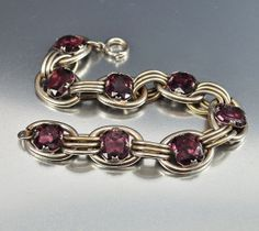 Vintage Silver Ring Purple Glass Art Deco Bracelet by boylerpf, $50.00
