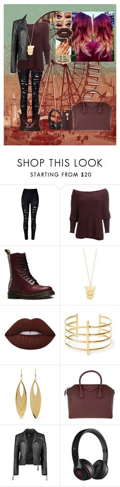 """""""Untitled #449"""" by chansoo ❤ liked on Polyvore featuring WithChic, Free People, Dr. Martens, Gorjana, Lime Crime, BauXo, Kenneth Jay Lane, Givenchy, Boohoo and Beats by Dr. Dre"""