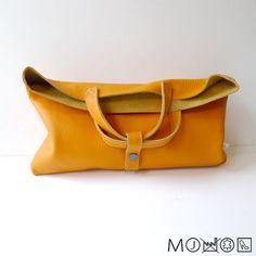 Leather folded Clutch / Handbag - orange