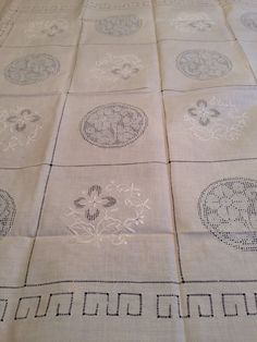 Vintage Small Set 6 Light Pink Linen Tablecloth Napkins Cutwork Embroidery Lace | eBay