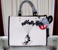Wear using double rolled handles or adjustable/removable crossbody strap. crossbody adjusts to Disney Handbags, Disney Purse, Coach Disney, Mickey Mouse Balloons, Disney Mickey Mouse, Crossbody Tote, Tote Purse, Satchel, Bags 2018