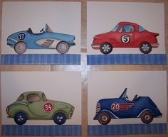 vintage race cars art boys children nursery by theprincessandpea, $20.00