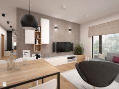 Mieszkanie - 60 m2 - Salon z jadalnią z tarasem / balkonem, styl minimalistyczny - zdjęcie od BIG IDEA studio projektowe
