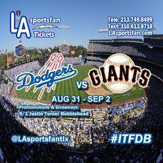 Los Angeles Dodgers vs. San Francisco Giants 8/31 - 9/2 #WeLoveLA #tickets #Baseball #Dodgers #ITFDB LAsportsfan.com