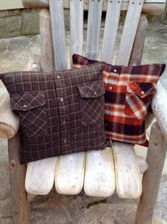 Flannel shirts turned into throw pillows