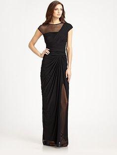 Tadashi Shoji - Illusion Gown - Saks.com. Wish this were any color but black!