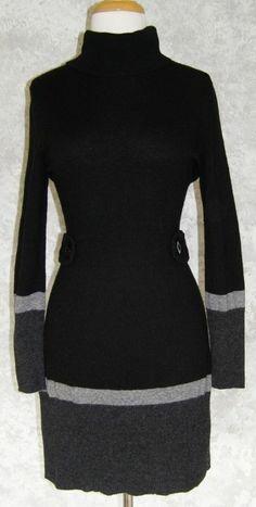BANANA REPUBLIC Black Gray Luxury Cashmere Sweater Dress PL Wool Blend Winter #BananaRepublic #SweaterDress #WeartoWork