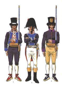 Tropas Aragonesas creadas durante la Guerra de Independencia: 1 - Batallón Ligero de Zaragoza 1811 2 - Batallón Ligero de Zaragoza. Oficial superior 3 - Voluntario de Teruel. 2º Tercio