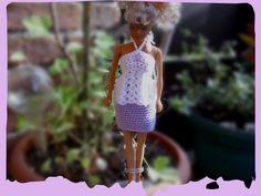 Puppenkleidung - Minirock und Top für Barbie *** lila/weiss - ein Designerstück von Sabisilke bei DaWanda