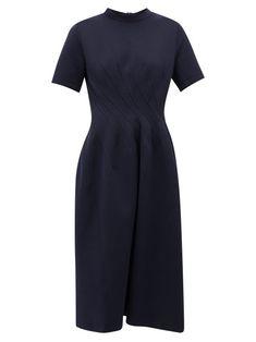 MARNI PINTUCKED COTTON-BLEND JERSEY MIDI DRESS. #marni #cloth
