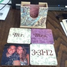 Wedding Gift DIY Coasters: use wooden coasters, scrapbook paper, stickers, or pictures and use Modge Podge as adhesive & finisher. (Use credit card to smooth out bubbles) -22 months later: it's great to know these are still in use by the couple and a favorite gift! I just used one myself the other day while visiting them :) they look great, too!