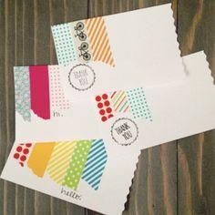 Washi tape notecards - use sketch design for message Washi Tape Cards, Washi Tape Diy, Washi Tapes, Duct Tape, Masking Tape, Tapas, Paper Cards, Diy Cards, Card Making Inspiration