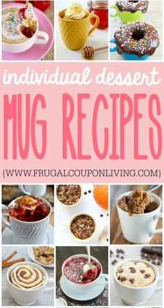 Individual Dessert Mug Recipes on Frugal Coupon Living. Dessert Ideas for One. Individual recipe ideas. #dessert #dessertrecipes #mug #mugrecipes #mugdessert #mugrecipe #dessertideas #dessertforone #microwave #microwaverecipes