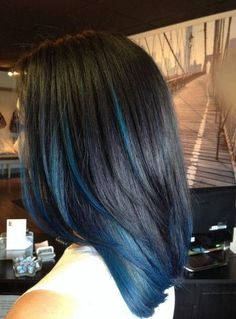 Blue Ombre Hair, Hair Color Purple, Hair Dye Colors, Hair Color For Black Hair, Cool Hair Color, Blue Tips Hair, Blue Brown Hair, Hidden Hair Color, Brown Blonde