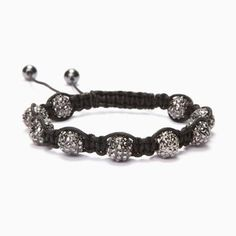 Black Diamond Crystal Shamballa Bracelet #Kalifano
