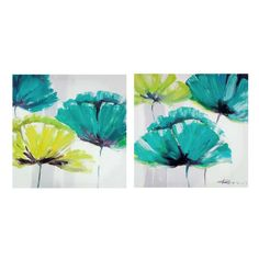 Canvas art blue and green flowers. Each sold seperately. SOLD OUT #9623122 $32.99      www.lambertpaint.com