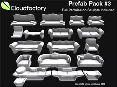 Fire Sale! CFD Prefab Pack #3, Four Full Permission High Quality Furniture Sets