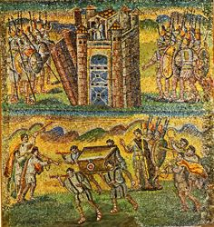 a scene from Book of Joshua mosaic at Santa Maria Maggiore, Rome; c. 432-440 AD; One of 27 smaller mosaics under the clerestory windows of the nave. The Battle of Jericho, where the Ark was carried around the city.