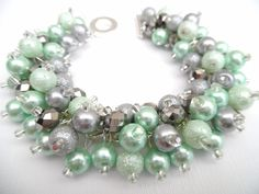 Mint Green and Gray Pearl Beaded Bracelet, Green Bridesmaid Bracelet, Chunky Jewelry, Cluster Bracelet, Bridal Jewelry, Mint Wedding Theme by KIMMSMITH on Etsy